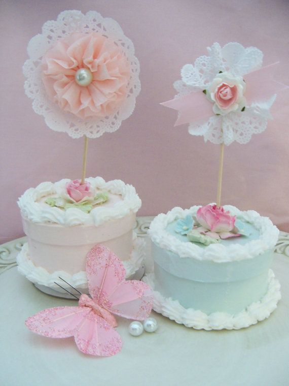 Birthday Decoration Shabby Chic Secret Garden Cupcake Toppers for