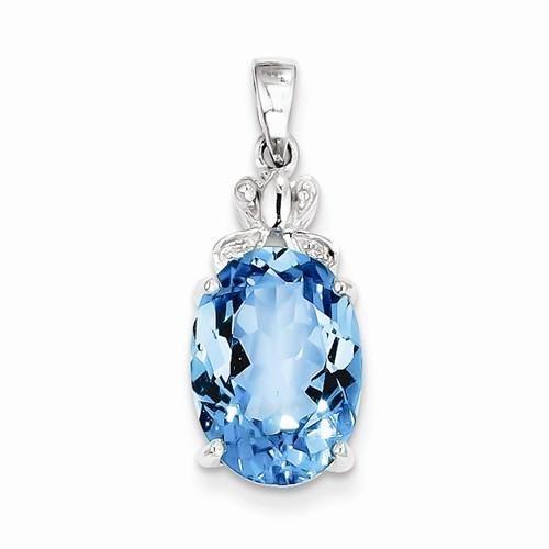 Sterling Silver Rhodium Plated Diamond and Light Swiss BT Pendant