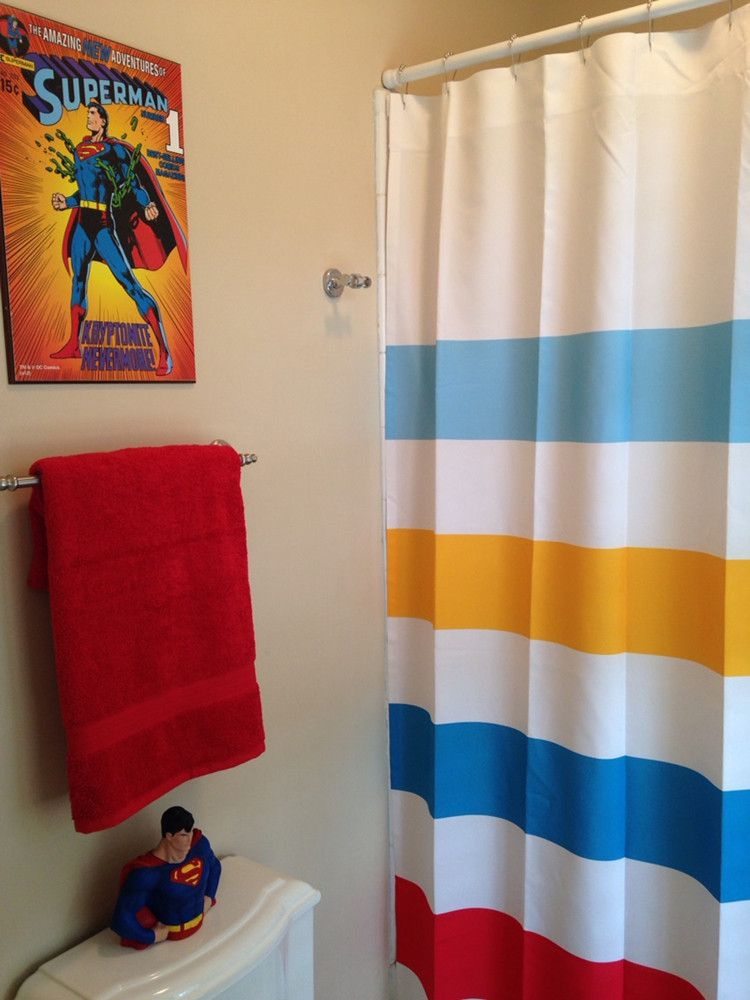 Superman Inspired Striped Shower Curtain Superhero Bathroom