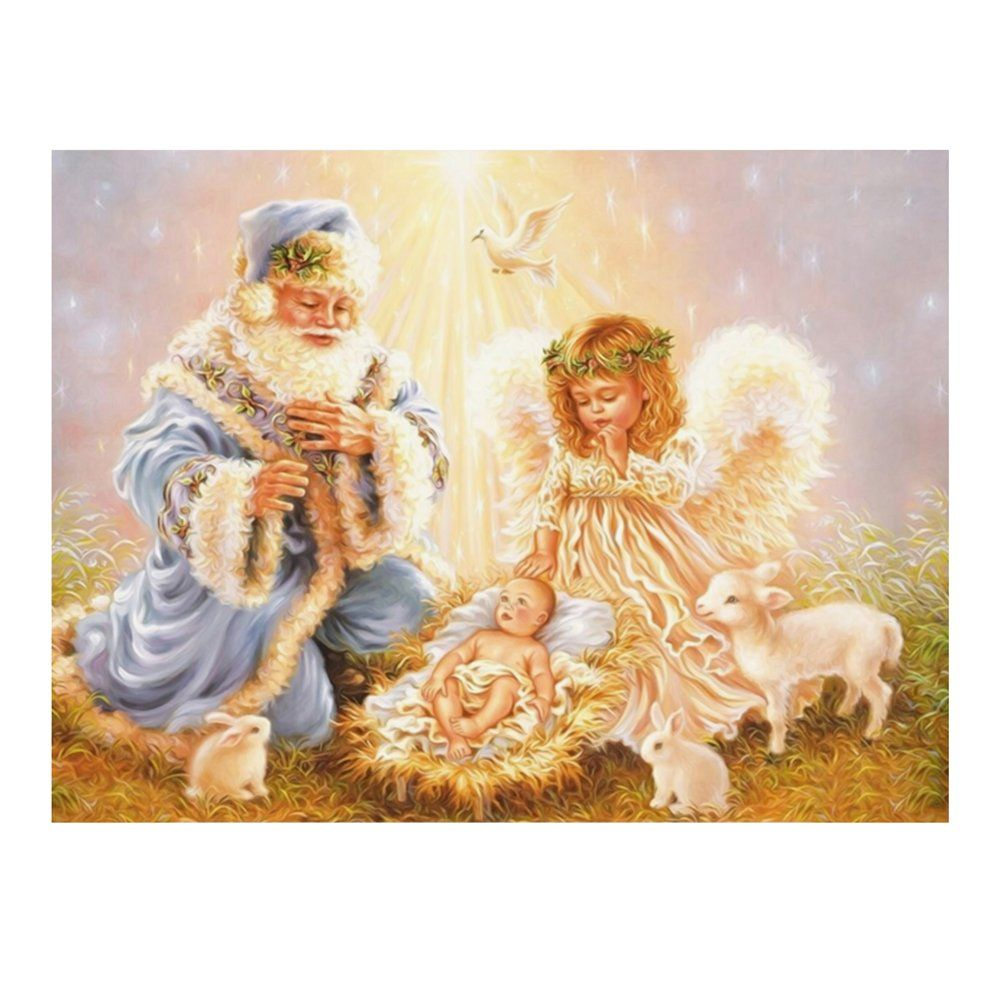 Whitelotous Santa Claus & Angel 5D Diamond Painting Embroidery DIY Paint-By-Number Kit Home Wall Decor 16 x 12 Inch -- Awesome products selected by Anna Churchill