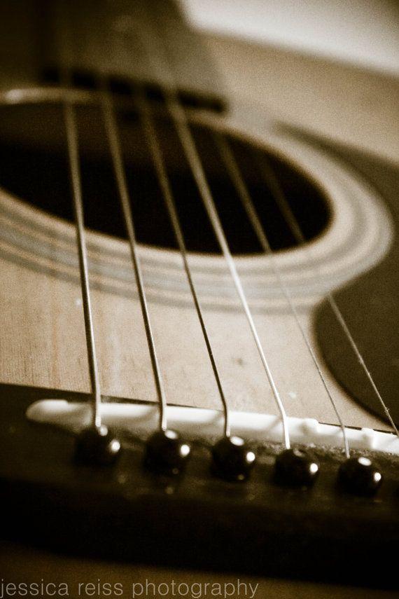Acoustic Guitar Strings Art Print Photography Music Art Mancave