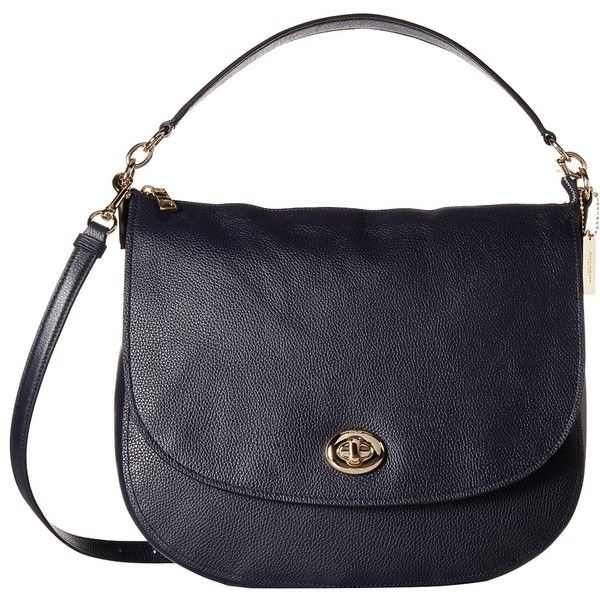 COACH Pebbled Turnlock Hobo (LI/Navy) Hobo Handbags ($350) ❤ liked on Polyvore featuring bags, handbags, shoulder bags, navy blue handbags, navy blue shoulder bag, long strap purse, cell phone purse crossbody and coach handbags
