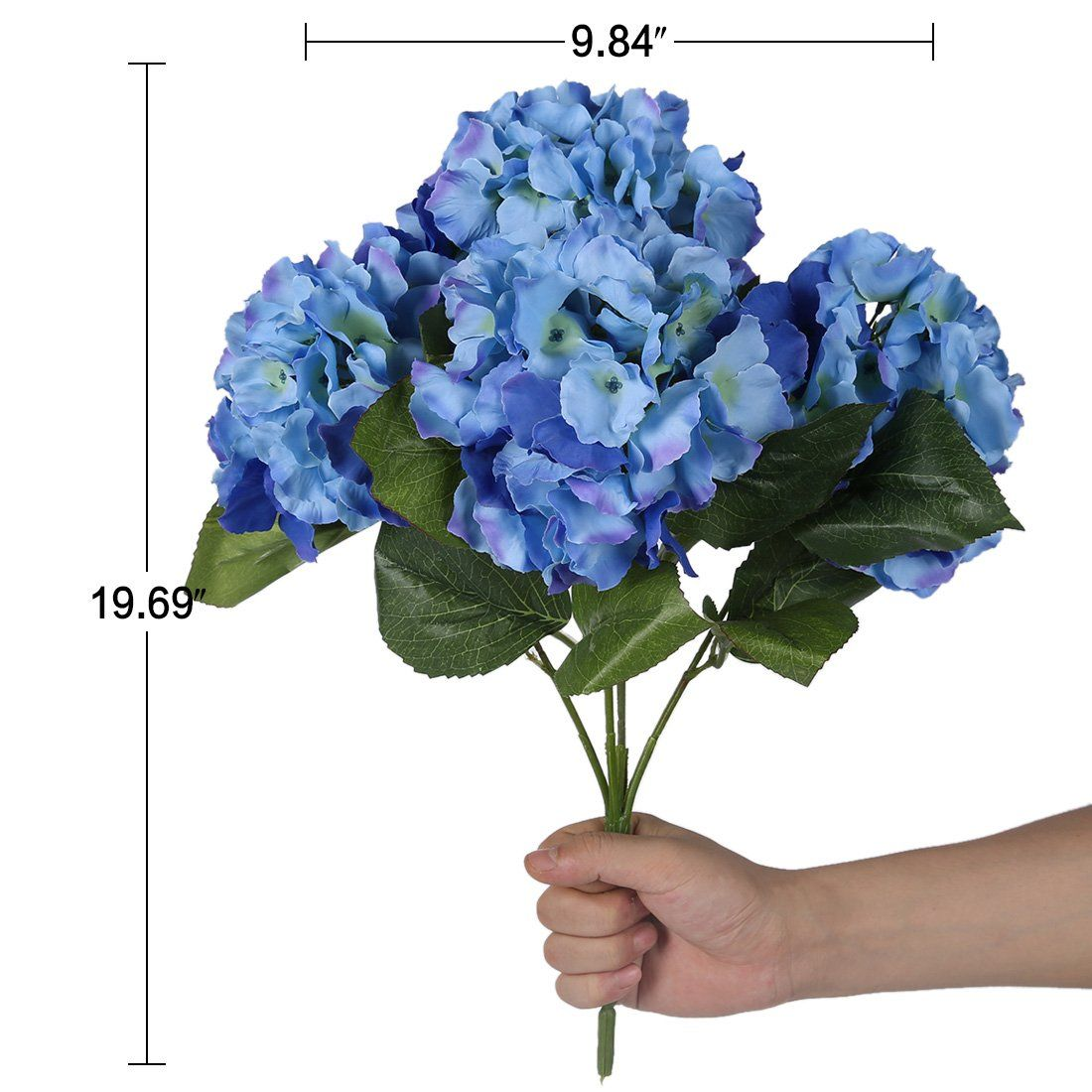 Luyue 5 Big Heads Artificial Silk Hydrangea Bouquet Fake Flowers