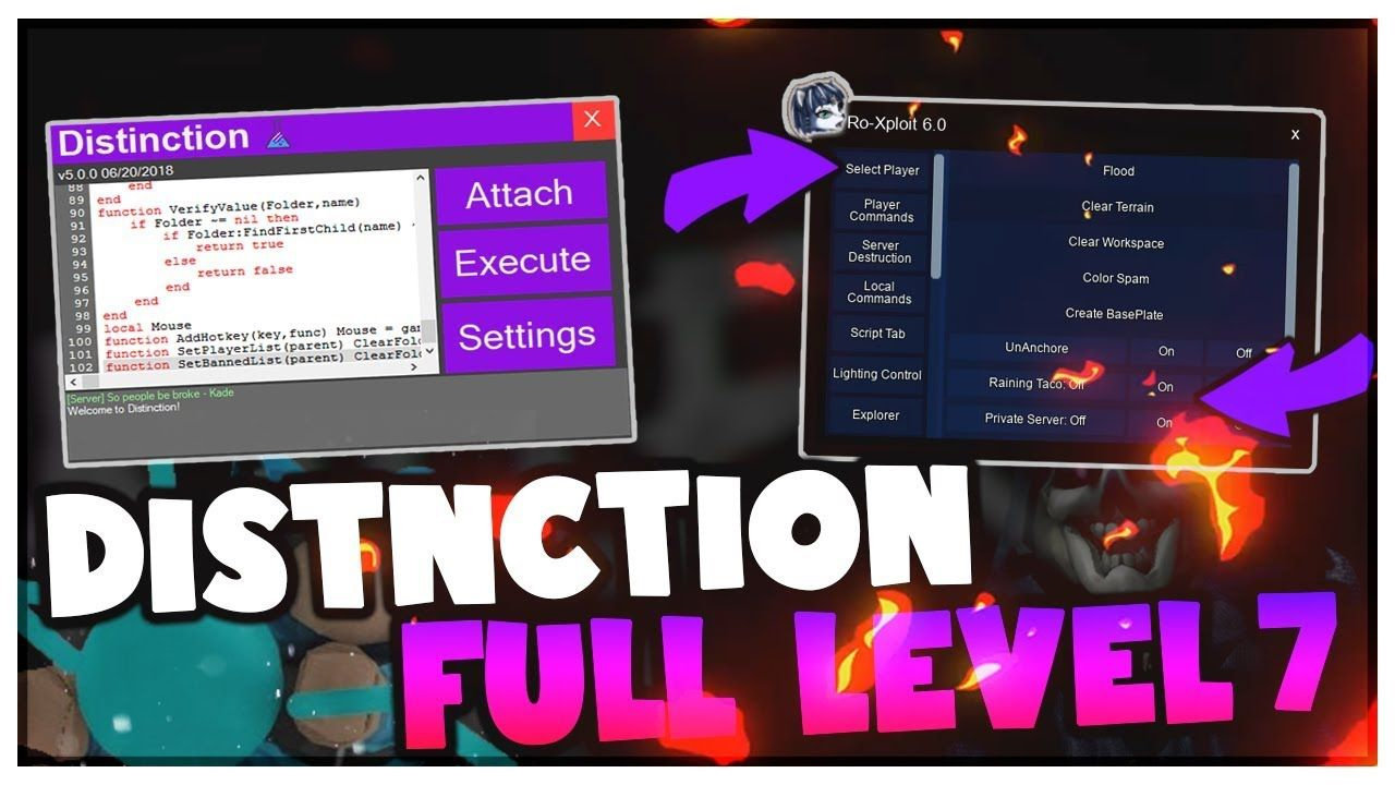 DISTINCTION - LEVEL 7 SCRIPT EXECUTOR, RO-XPLOIT v6 HACK ROBLOX