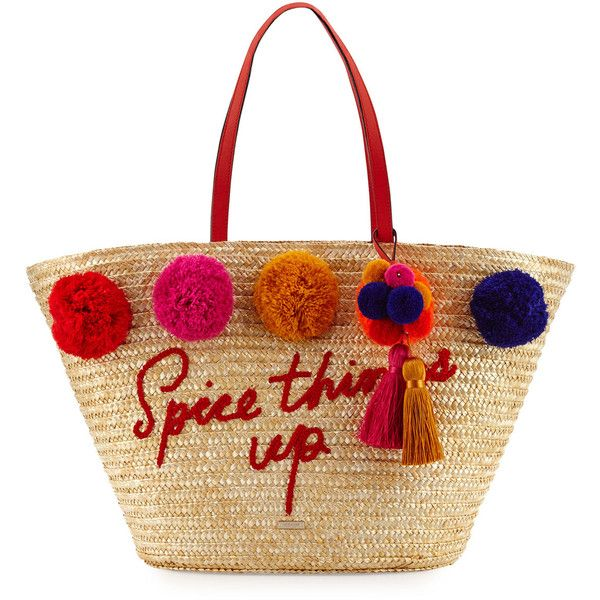 Kate Spade New York lewis way large pom market tote bag (€275) ❤ liked on Polyvore featuring bags, handbags, tote bags, purses, multi pattern, man bag, kate spade tote, zip tote bag, kate spade purses and straw tote