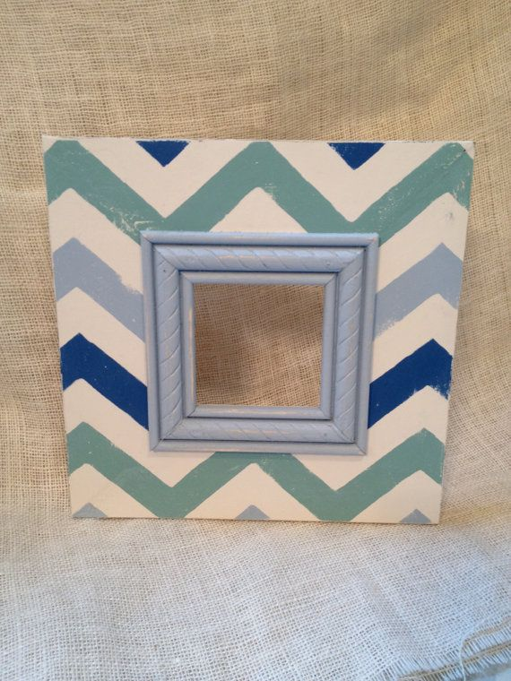 Chevron distressed wood picture frame shabby by kitnkaboodlehome ...