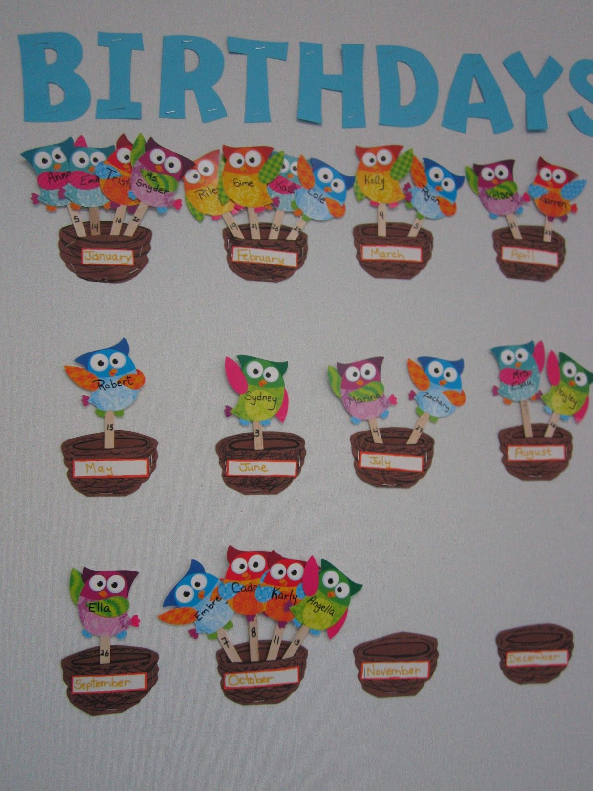 Classroom Birthday Ideas : Birthday bulletin board with owls repinned by pre k
