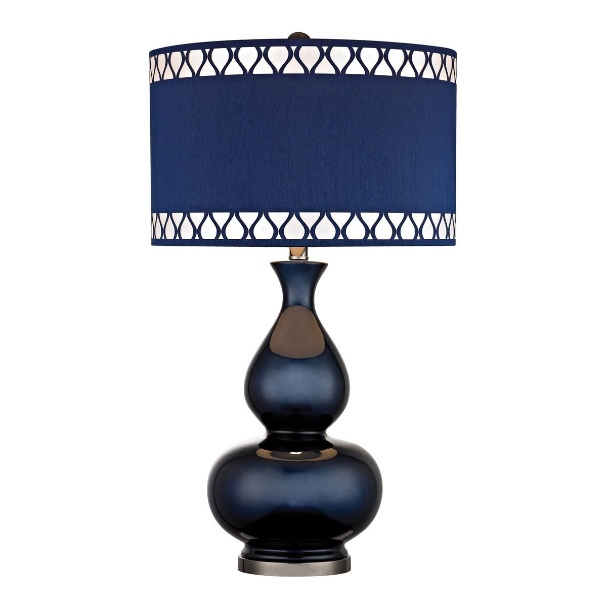 Off Heathfield Navy Blue And Black Nickel One Light Table Lamp By Dimond. @  Navy Blue Gourd Lamp With Laser Cut Trim Shade @ Bulbs Not Included @  Switch ...