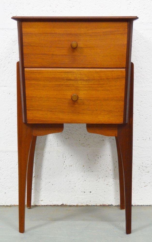 Retro Vintage Mid Century Danish Style 1960 S Walnut Bedside Cabinet Ebay