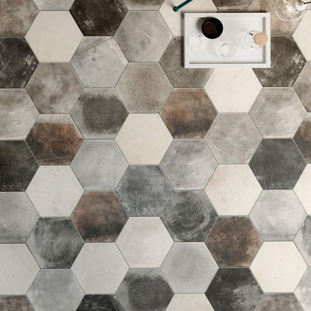 Carrelage Sol Hexagonal Effet Carreaux De Ciment 24x27 7 Dust Grey