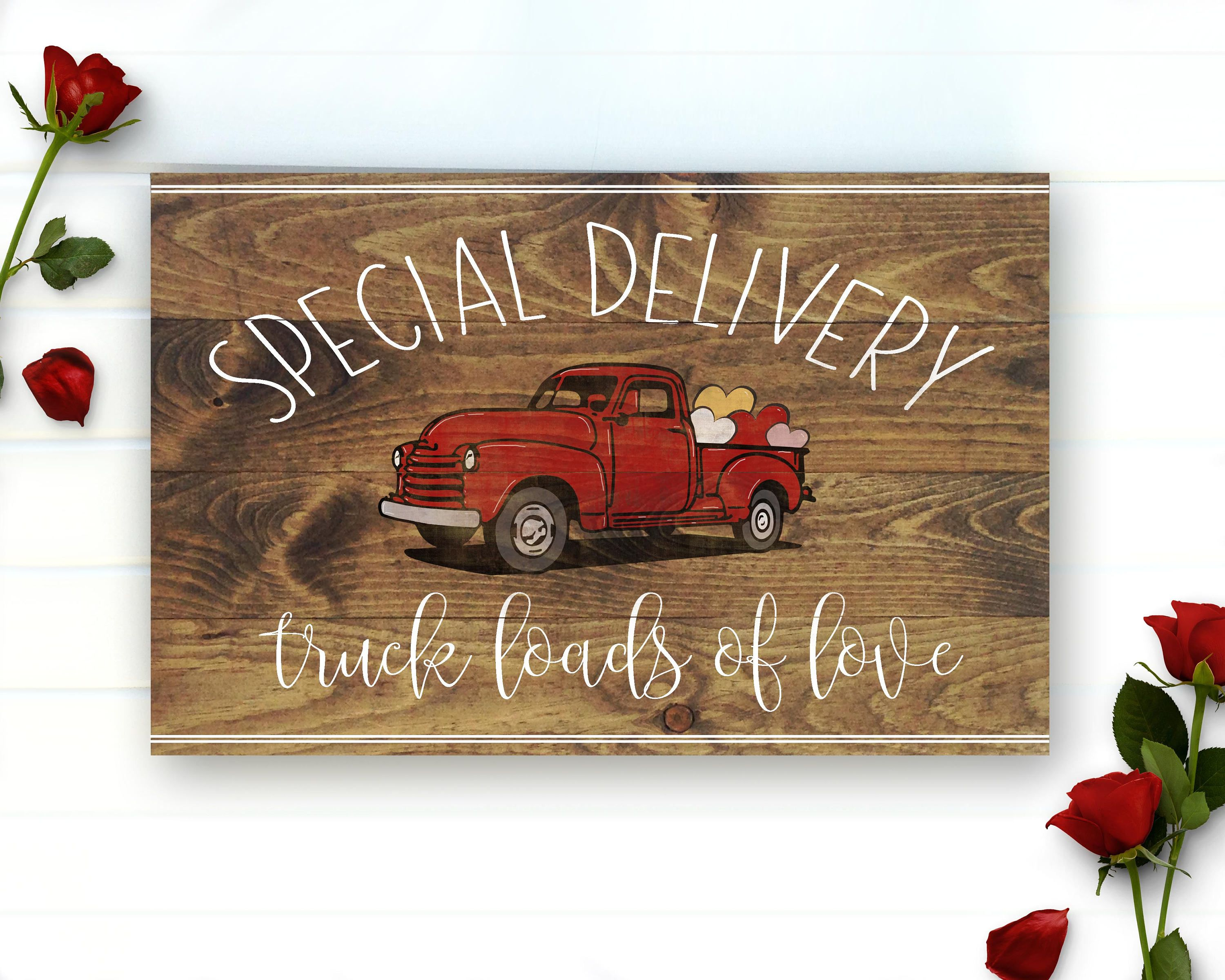 Primitive Old Red Truck Support Your Local Farmers Chippy Wood Sign Print 8x10