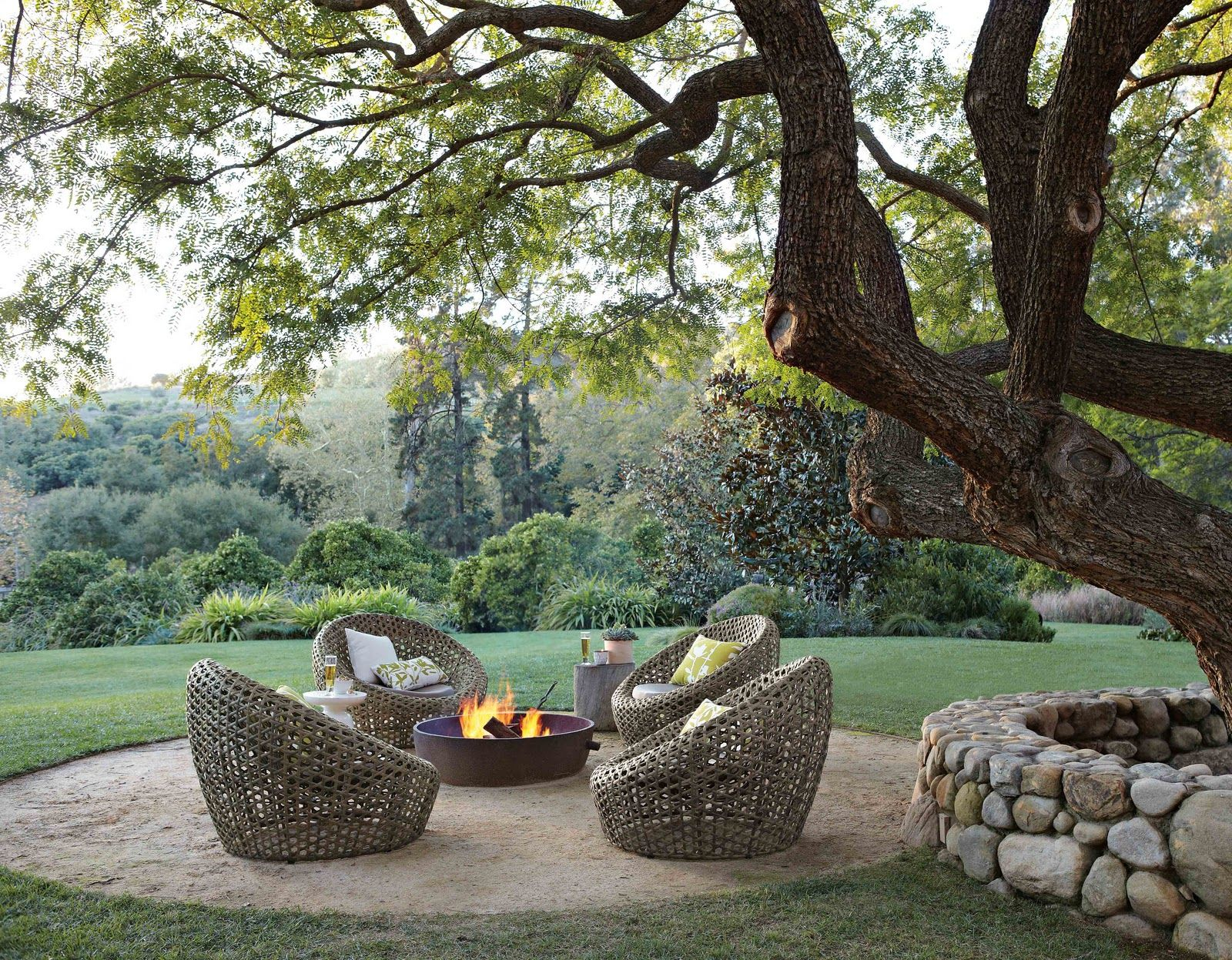 West Elm Firepit And Chairs Love The Stone Wall Around
