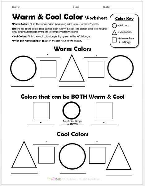 Warm Cool Color Worksheet Create Art With Me Color Worksheets Color Theory Worksheet Warm And Cool Colors Free printable color wheel worksheet