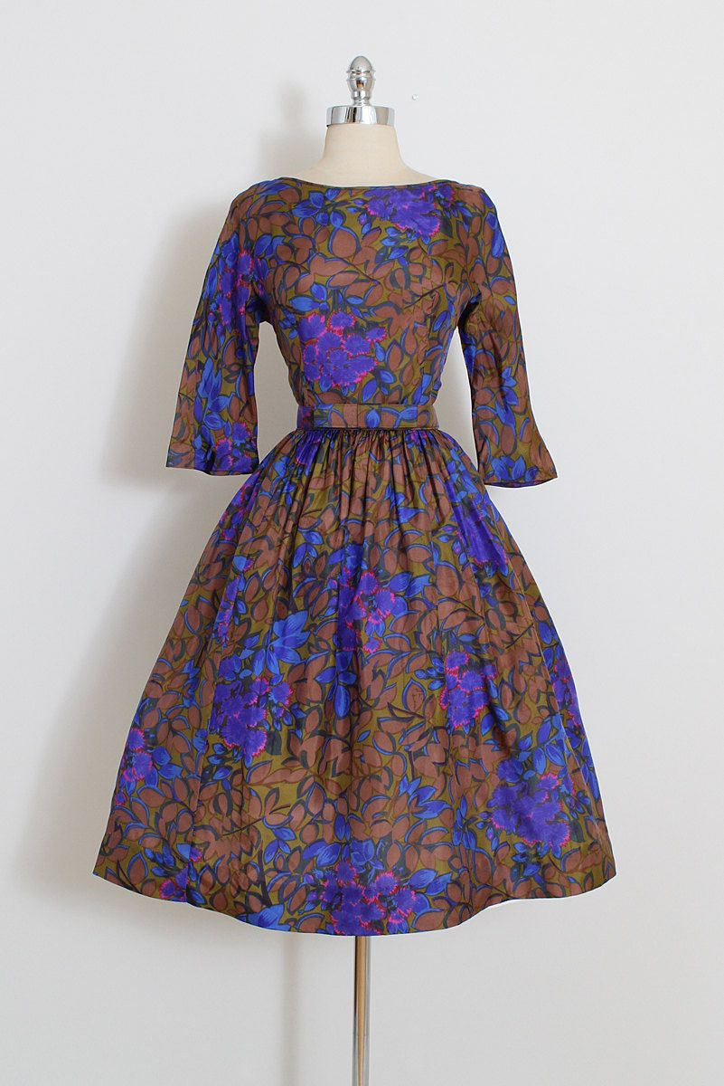 Vintage 50s Dress | vintage Jerry Gilden 1950s dress | floral silk ...
