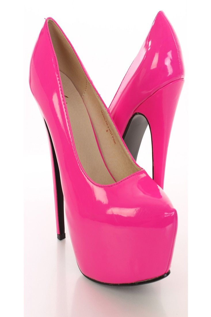 Hot pink dress shoes  Step out with right foot first and show off these sizzling hot pumps