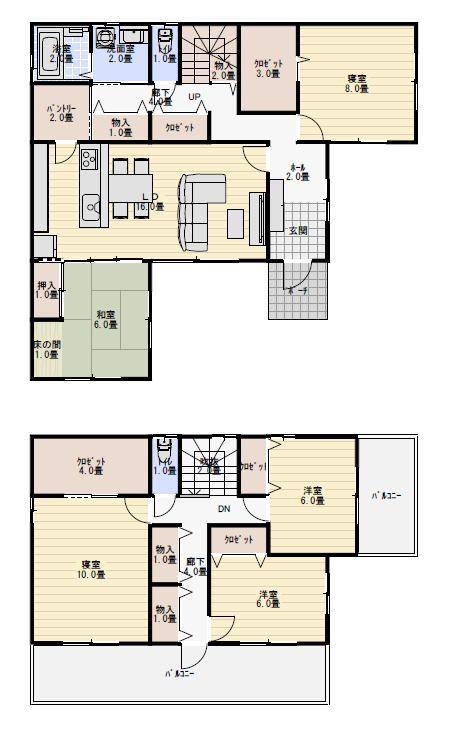45坪5ldk二世帯住宅の間取り 新築間取り 住宅 間取り 2世帯住宅