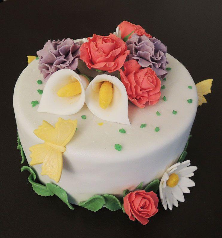 Connu Gâteau printanier - fleurs en pâte à sucre | PAS | Pinterest  HD32