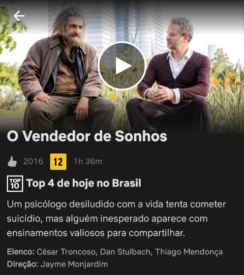 Filme O Vendedor De Sonhos Jayme Monjardim Sugestoes De Filmes Netflix Sinopse De Filmes Filmes