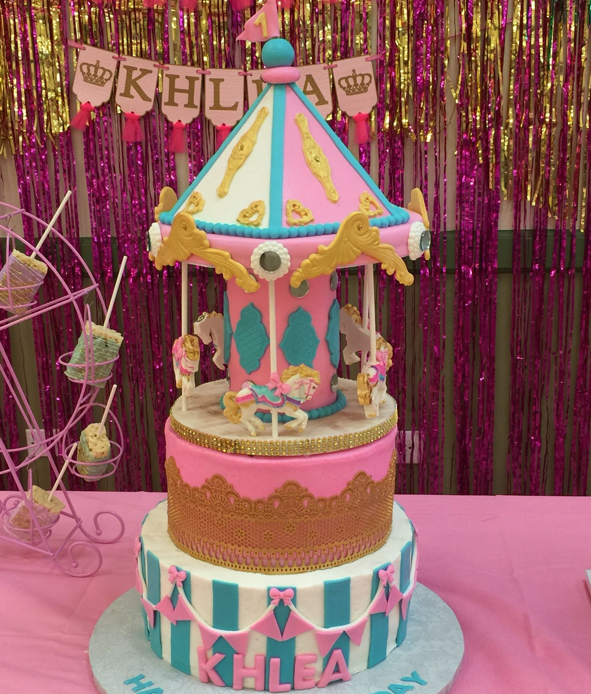 My Girls 1st Birthday Cake Glam Carnival Theme Carnival Themed