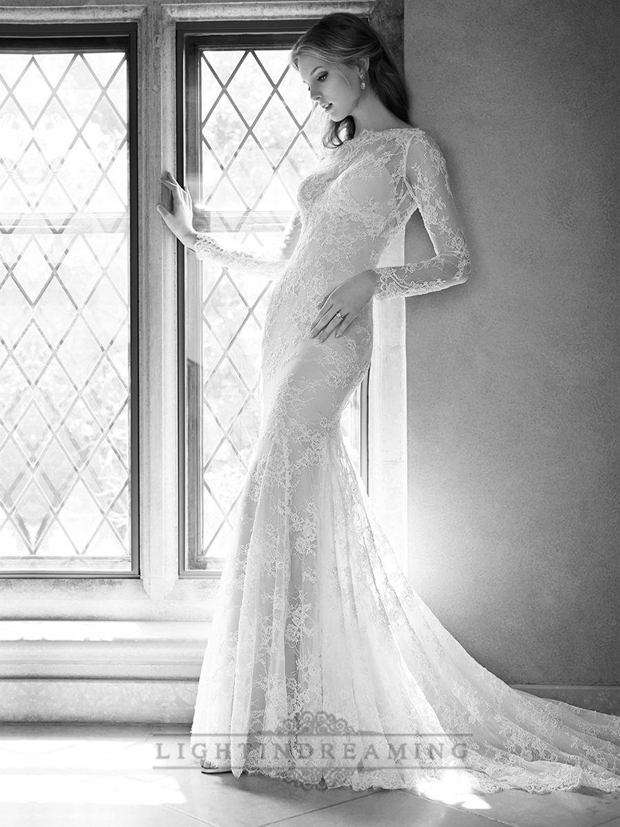 Illusion long sleeves bateau neckline embroidered wedding dresses