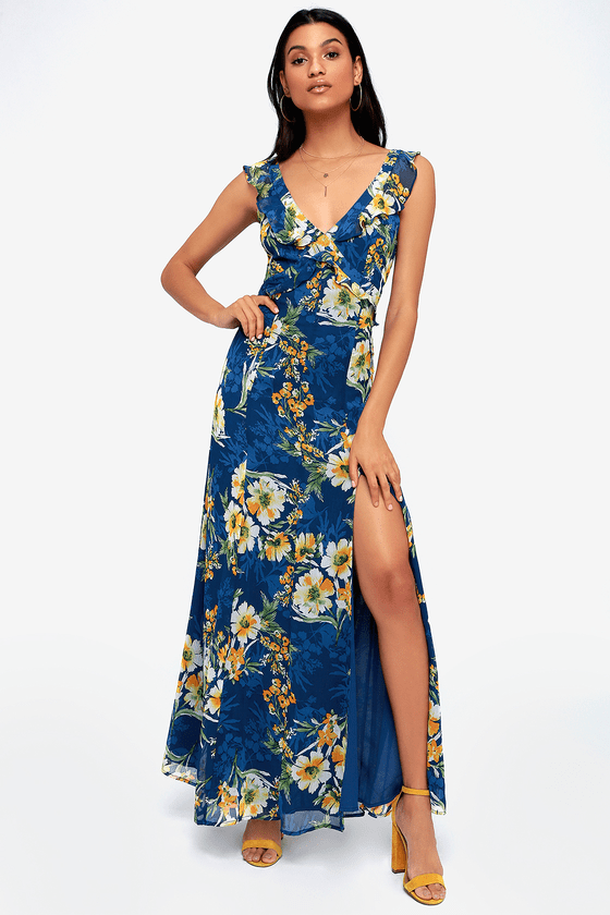 a19da765eef The Lulus Feeling Fleur-ty Navy Blue Floral Print Ruffled Maxi Dress will  get you in the mood for romance! Gauzy fabric composes ruffled straps