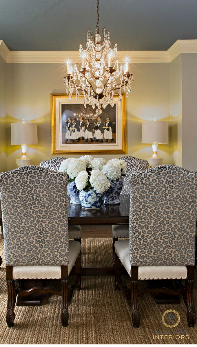 Amanda Carol Interiors Emerald Green Gold Mirrors: Dining Room. Leopard Velvet Chairs. Amanda Carol Interiors