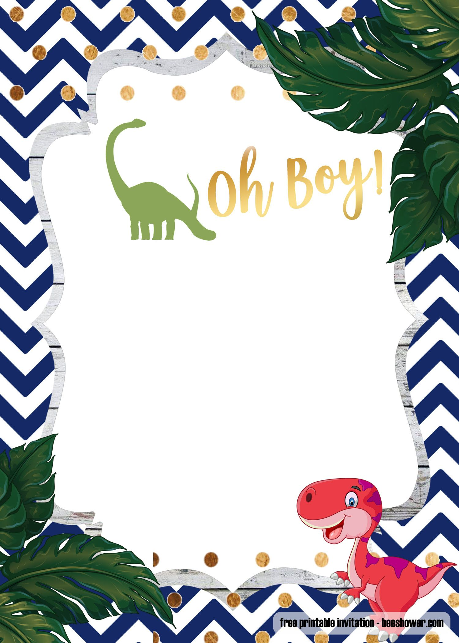 A Dinosaur Template For Your Baby Shower