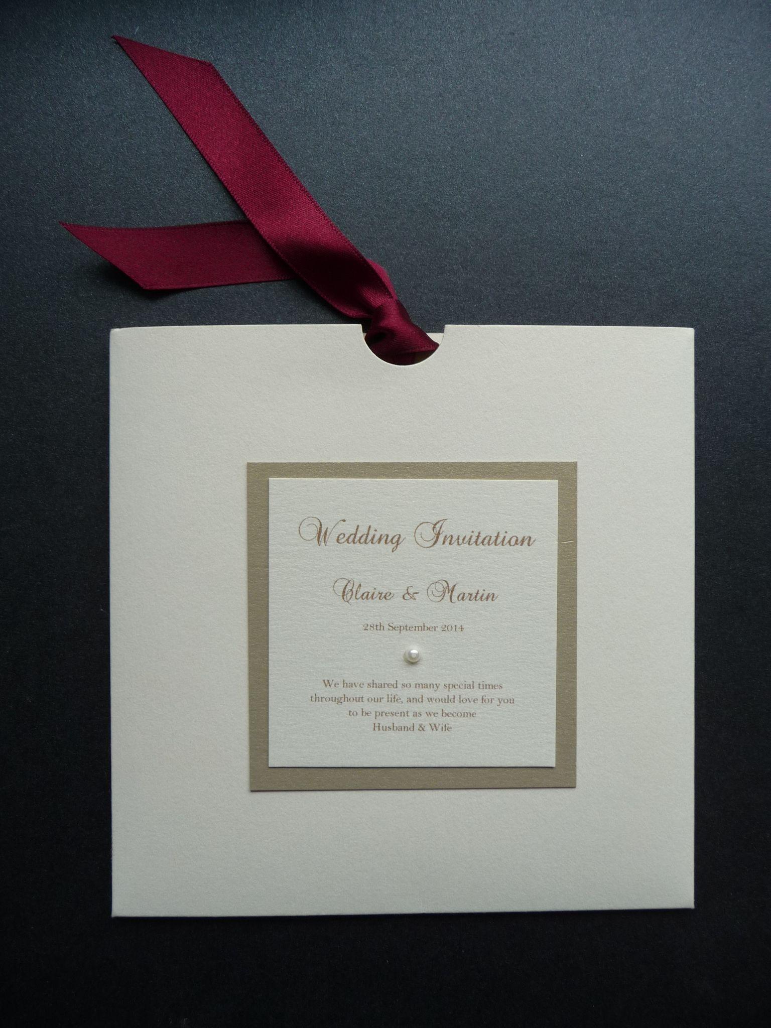 Ivory, Gold & Burgundy wallet style wedding invitations | Zaproszki ...