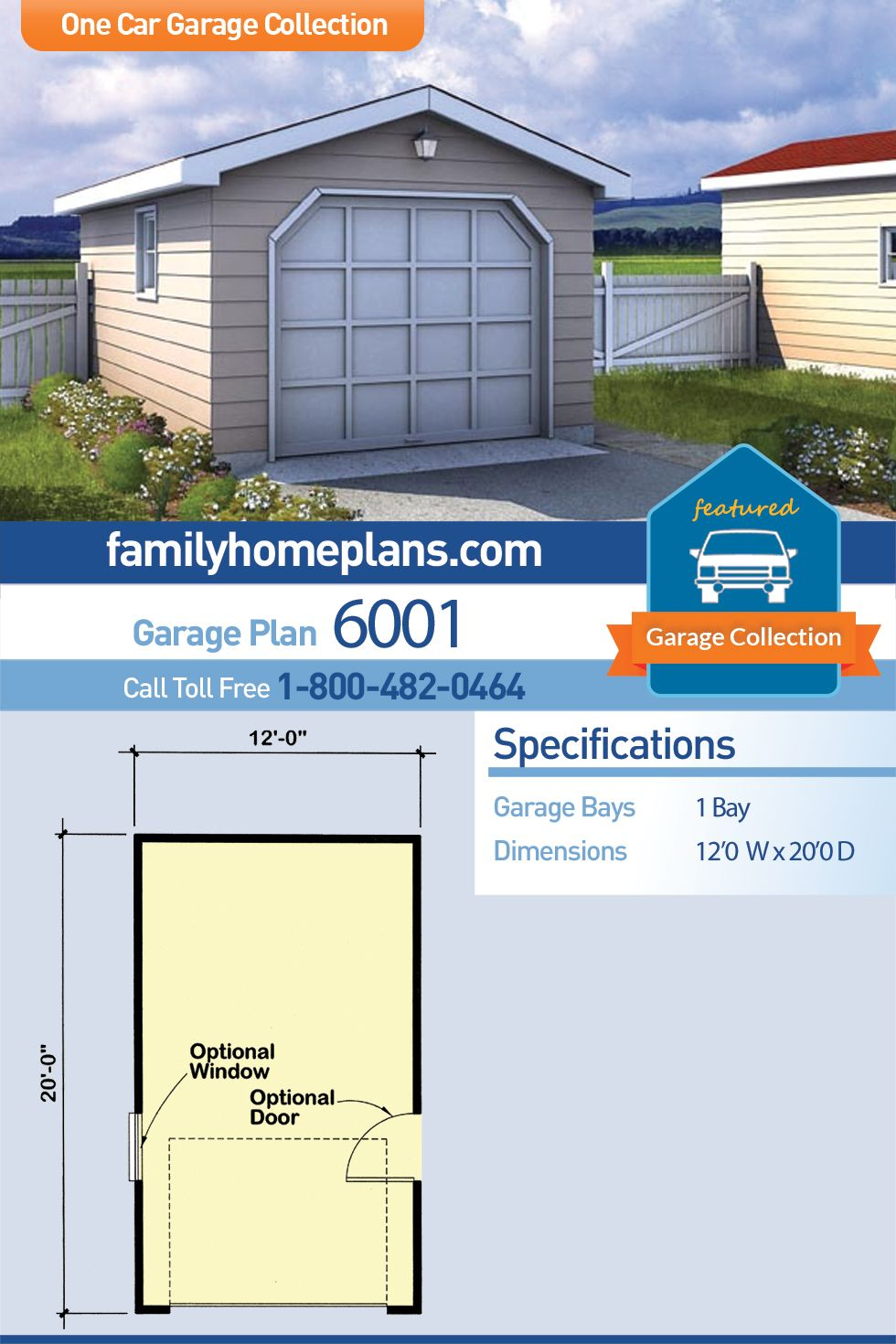 Traditional Style 1 Car Garage Plan Number 6001 Building