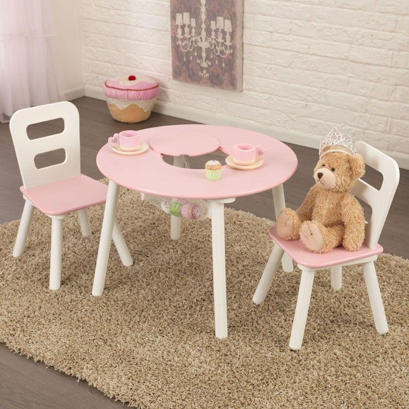 Conjunto de mesa y dos sillas para ni as en madera de la - Mesas infantiles madera ...