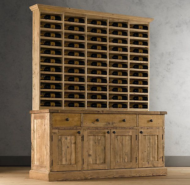 Salvaged wood vintner 39 s hutch wood shelving cabinets restoration hardware home - Restoration hardware cabinets ...