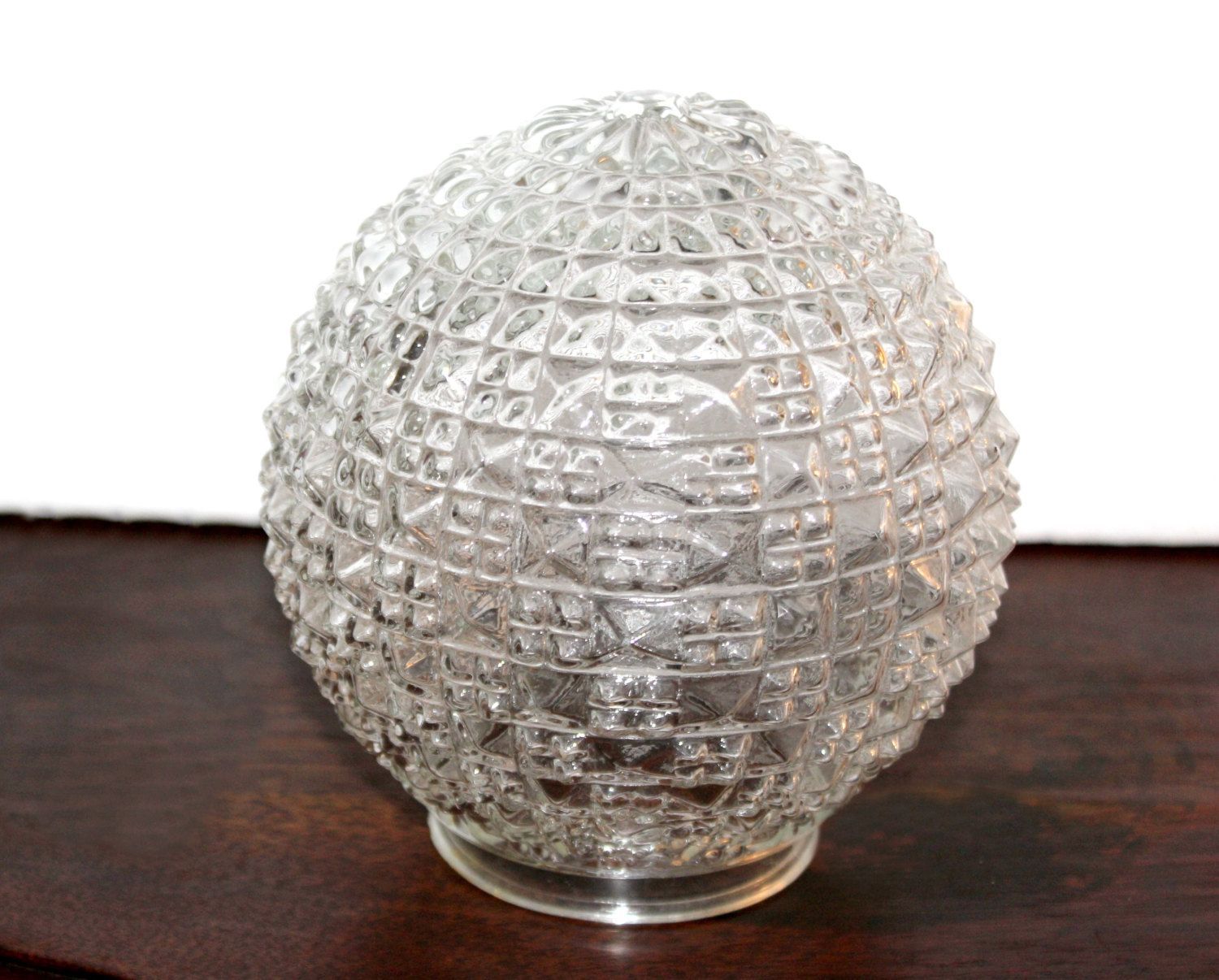 Replacement Glass Light Shades For Light Fixtures: Antique Glass Globe Replacement Diamond Point, Hobnail
