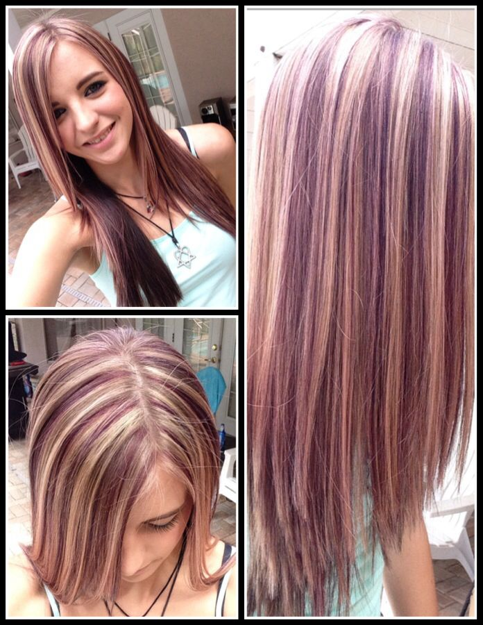 Blonde Carmel Highlights With Purple Lowlights Purple Hair Purple Blonde Hair Hair Highlights