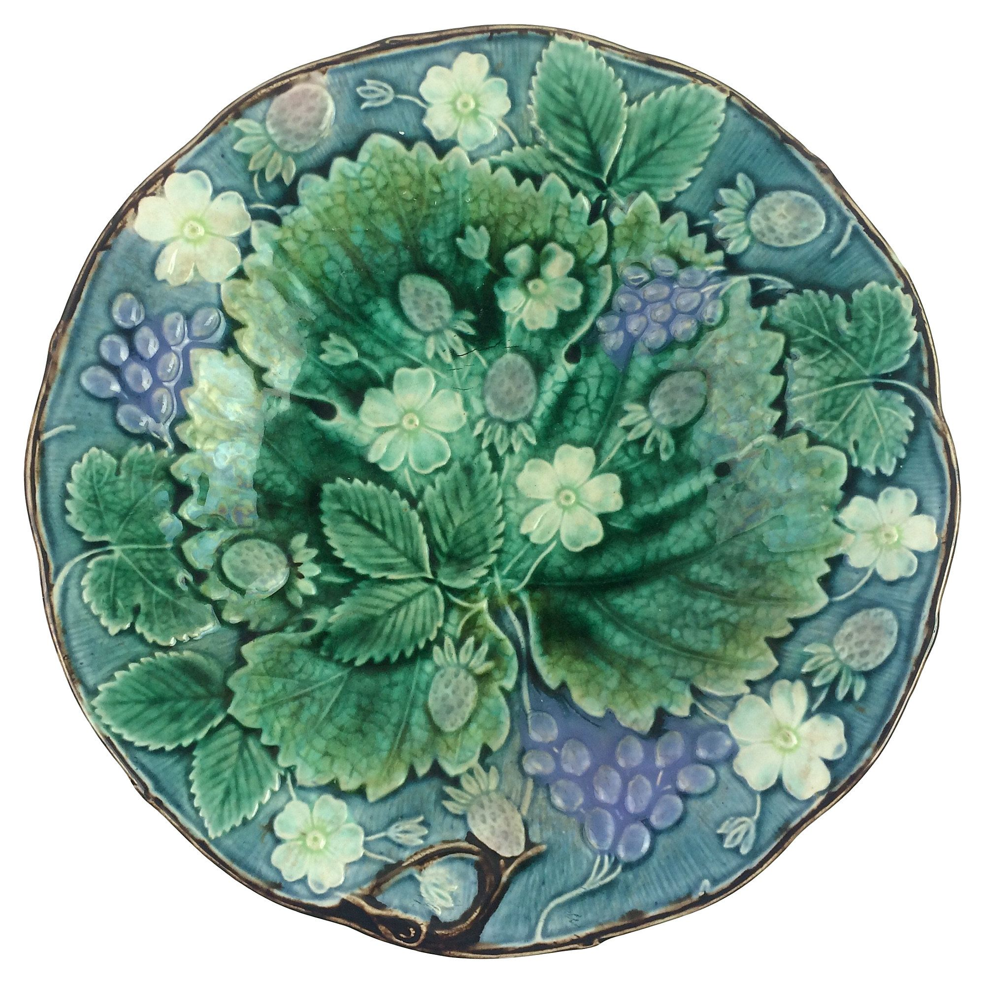 Swedish Majolica Shallow Bowl With Vine And Berries Marked On