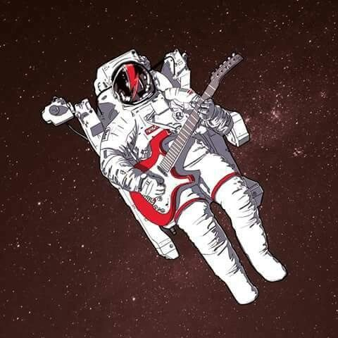astronaut playing guitar in space - photo #23