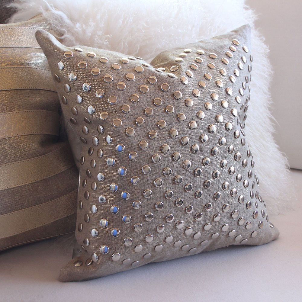 Metallic Linen Stud Pillow - ''''' - All Soft Goods - Decorative