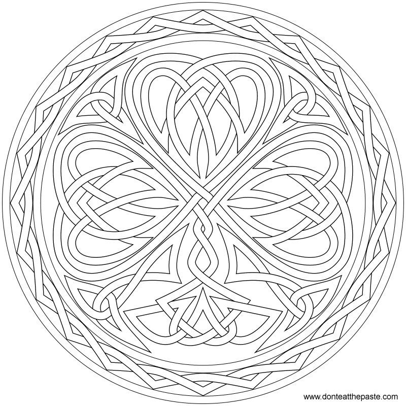 Knotted Shamrock to color or embroider | Pinterest | Mandala ...