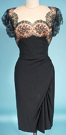 1950's Peggy Hunt dress - add lace to a strapless bodice and then use it for shoulder/straps and even sleeves!