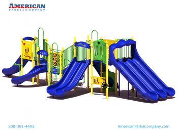The More The Merrier - Slides, that is! 7 slides at varying heights set this incredible playground apart from all the others. If your church, school or city park has a need for a high capacity outdoor commercial playground with tons of activities, this is the one. In addition, this playground features 7 play panels, including a Racing Game Panel, Spin & Win Panel, Tic-Tac-Toe, Telephone Tubes and more, providing an unmatched social interaction and sharing experience.