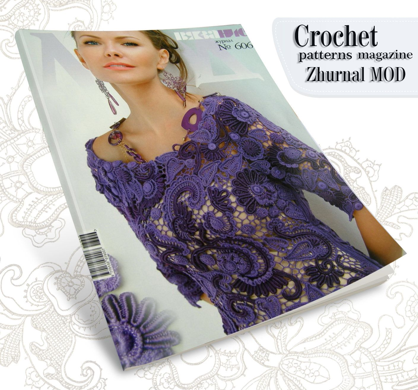 Zhurnal Mod # 606 Crochet patterns Dress jackets, Irish lace dress, top, skirt, cardigan #irishlacecrochetpattern