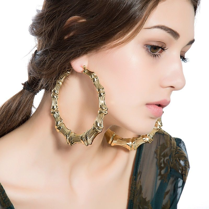 Attractive Lady Silver Gold Large Hoop Basketball Wives Dangle Earrings Gift