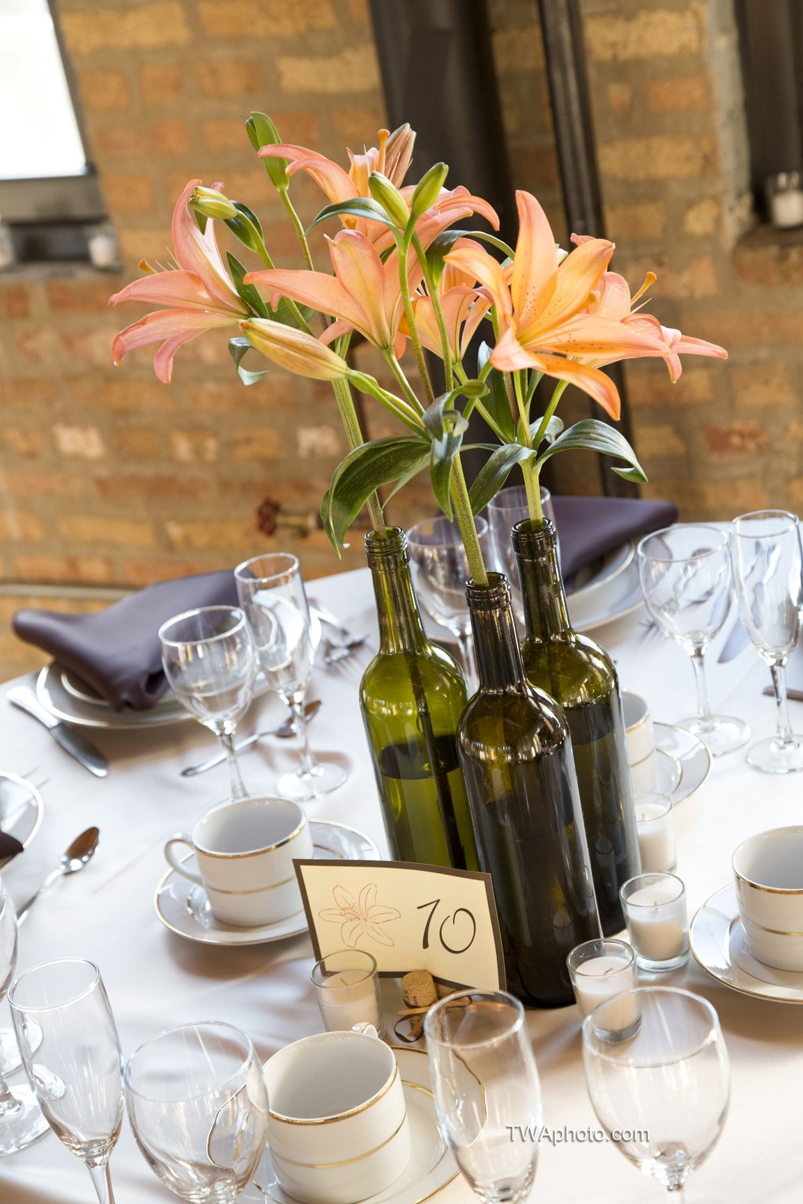 Wine Bottle Centerpiece Timothy: wine bottle wedding centerpieces
