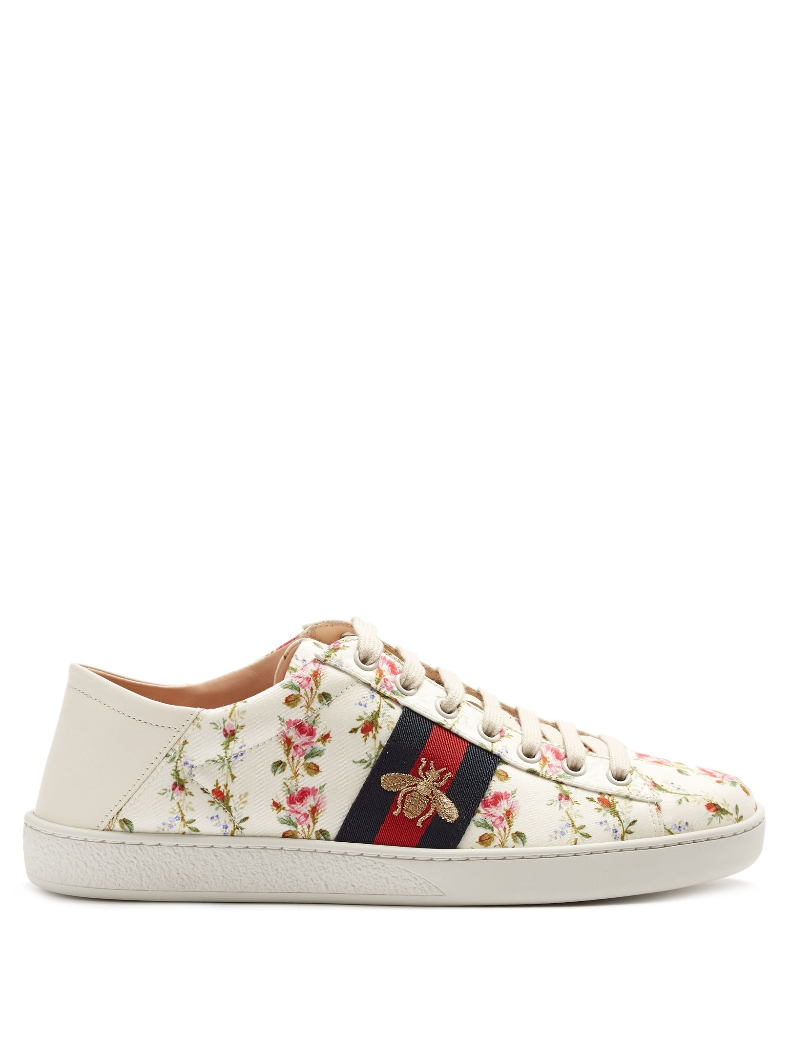 e687139de Click here to buy Gucci New Ace rose-print foldable-heel canvas trainers at  MATCHESFASHION.COM