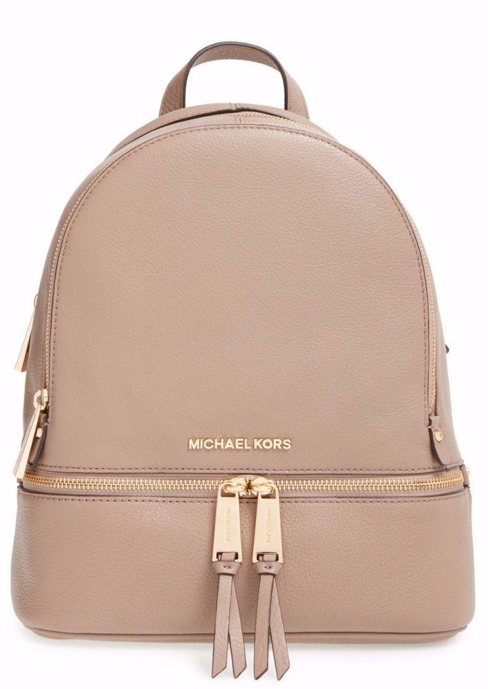 93a5f7192e62 NWT MICHAEL Michael Kors Rhea Zip Dark Dune Leather Small Backpack Bag # MichaelKors #Backpack