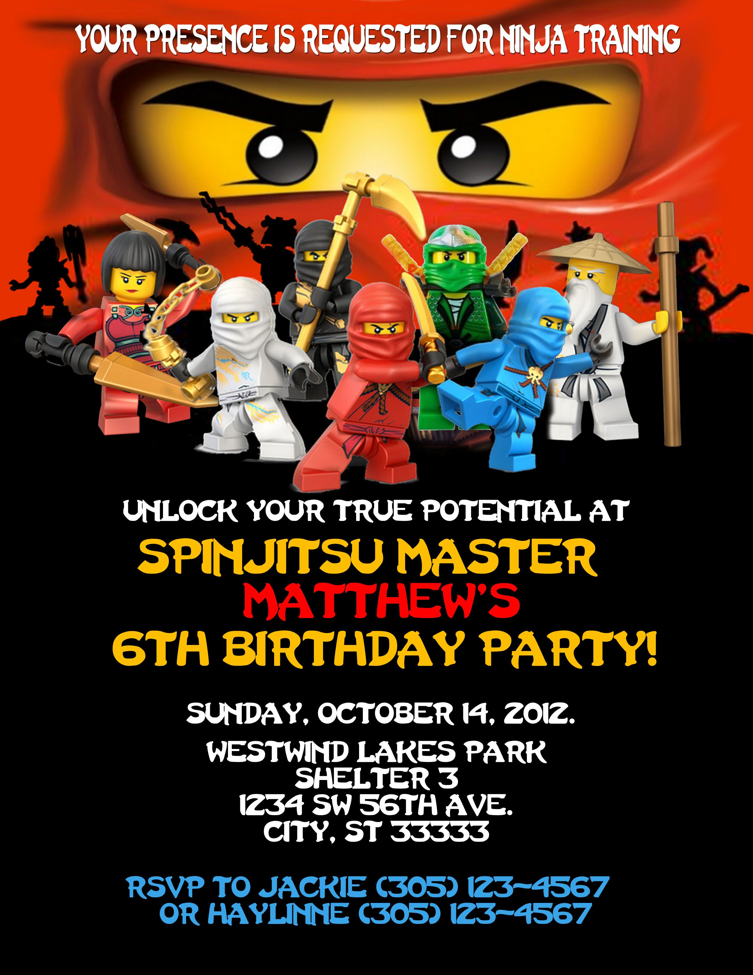 Ninjago Birthday Invitation Created On Photoshop Can