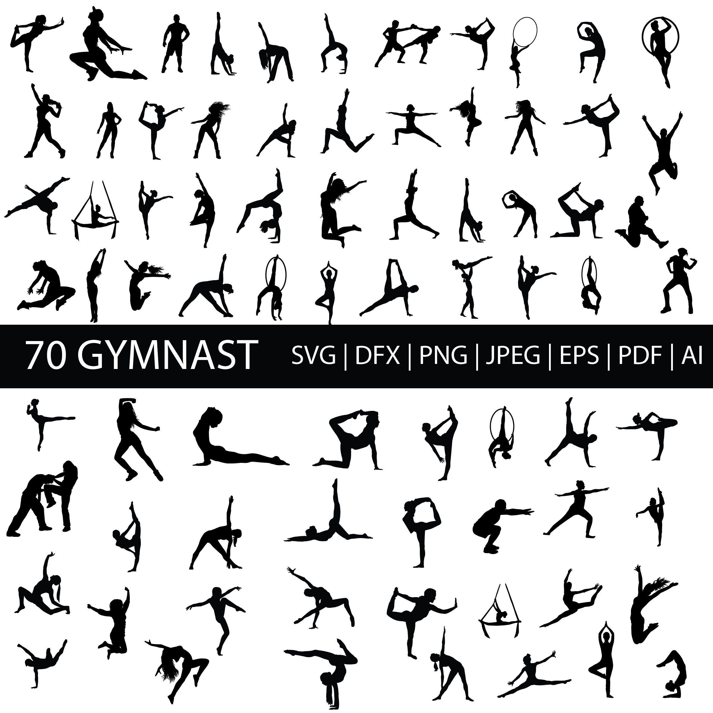 70 Gymnastic Svg Silhouette Clip Art Images In