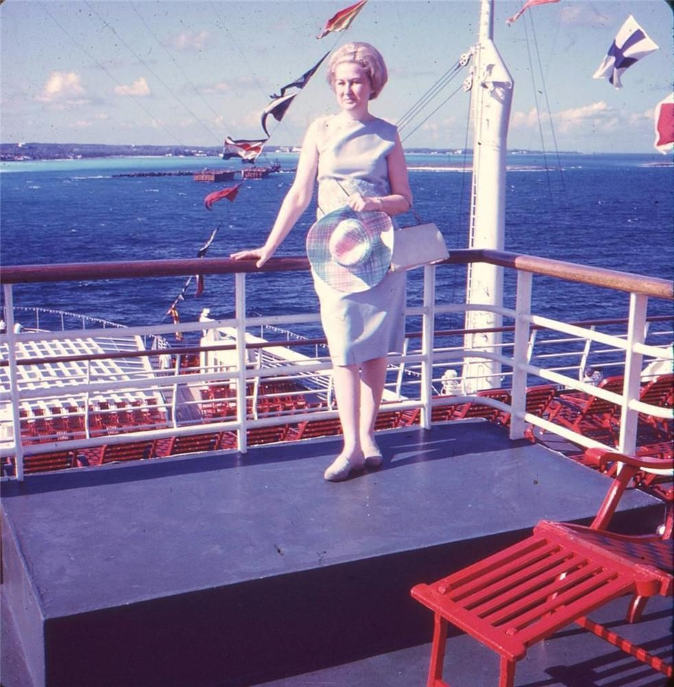 Vintage 1960s 1966 35mm Photo Slide Big Hair Woman in Islands on Cruise Ship