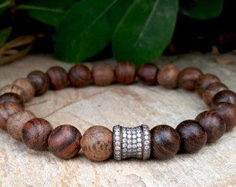 Spiritual Mens Mala Bracelet Ebony Wood Men S Brown Beaded Yoga Jewelry Protection Energy Boho A Gift For Him