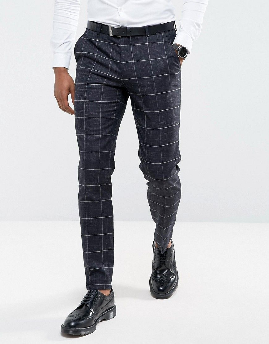 c38e8b9c4a9e ASOS Wedding Super Skinny Suit Pants in Navy Windowpane Check With Nep