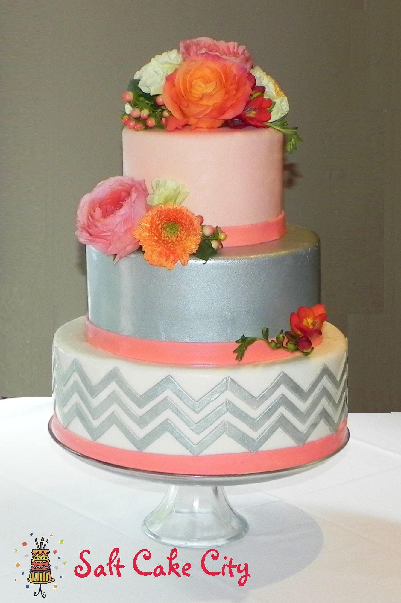 Cake ideas on pinterest pirate cakes marshmallow fondant and - Coral Silver Chevron Wedding Cake Coral Silver Chevron Wedding Cake All Marshmallow Fondant With Edible Silver On The Middle Tier And Chevron